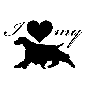 I Love My Spaniel Dog Silhouette Heart Vinyl Sticker Car Decal